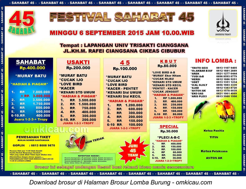 Brosur Lomba Burung Berkicau Festival Sahabat 45, Cibubur, 6 September 2015
