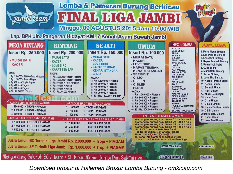 Brosur Lomba Burung Berkicau Final Liga Jambi, 9 Agustus 2015