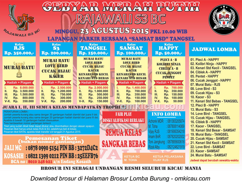 Brosur Lomba Burung Berkicau Gebyar Merah Putih Rajawali S3, Tangsel, 23 Agustus 2015