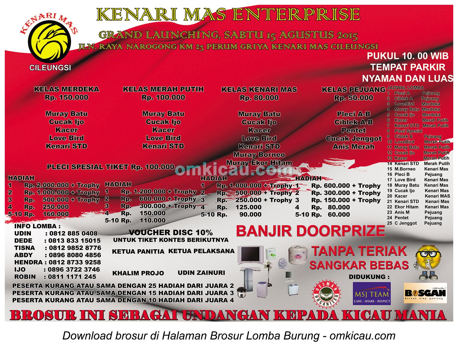 Brosur Lomba Burung Berkicau Grand Launching Kenari Mas Enterprise, Cileungsi, 15 Agustus 2015