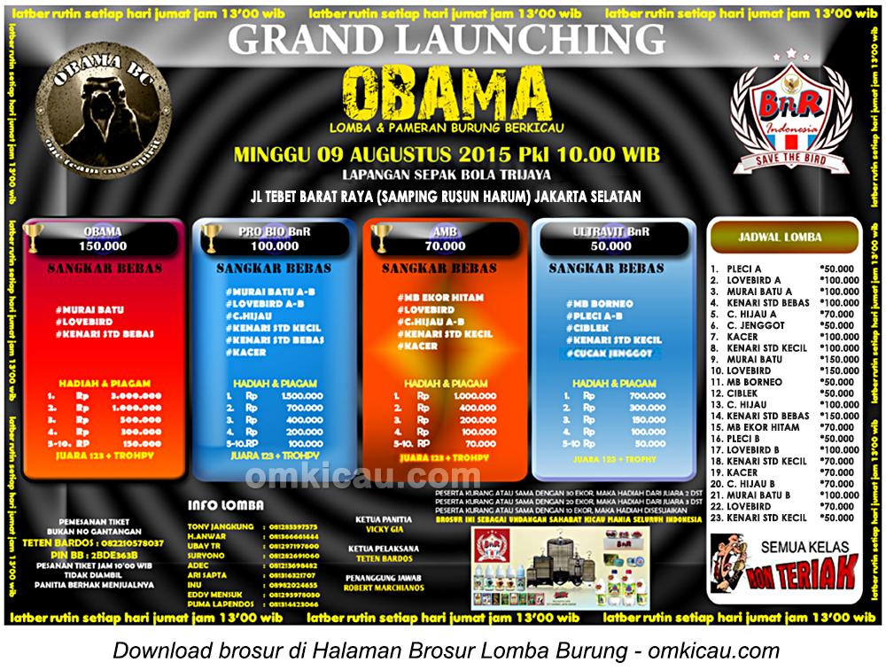 Brosur Lomba Burung Berkicau Grand Launching Obama, Jakarta Selatan, 9 Agustus 2015