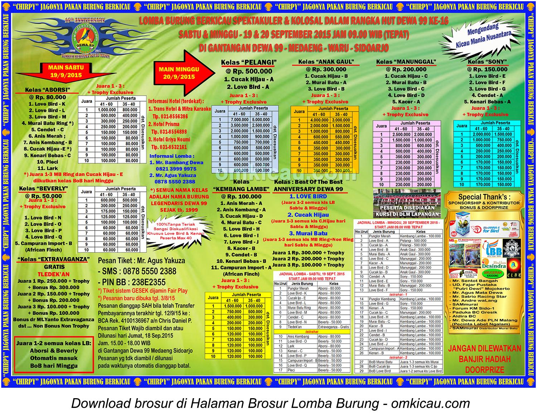 Brosur Lomba Burung Berkicau HUT Ke-16 Dewa 99, Sidoarjo, 19-20 September 2015
