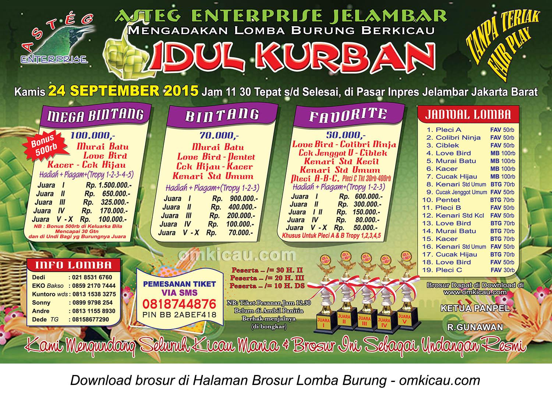 Brosur Lomba Burung Berkicau Idul Kurban Asteg Enterprise, Jakarta Barat, 24 September 2015