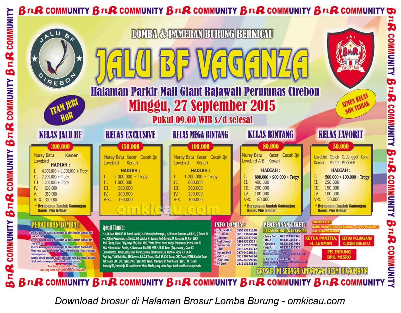 Brosur Lomba Burung Berkicau Jalu BF Vaganza, Cirebon, Minggu 27 September 2015