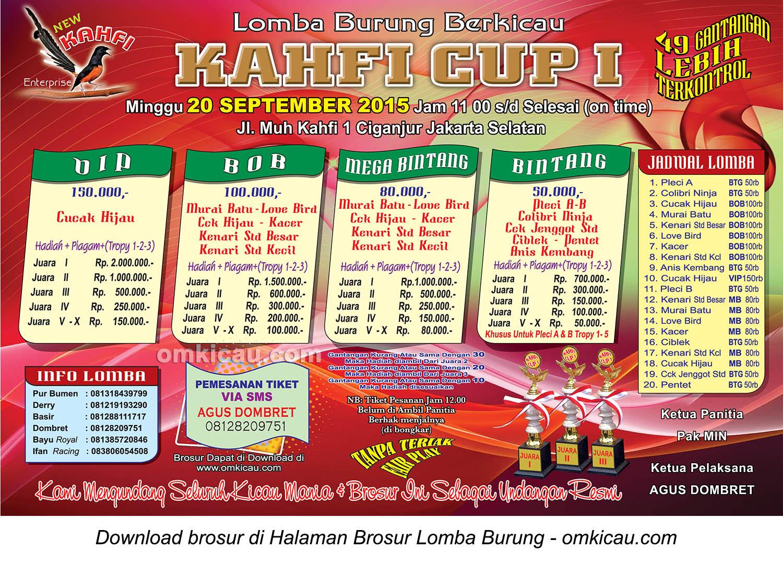 Brosur Lomba Burung Berkicau Kahfi Cup I, Jakarta Selatan, 20 September 2015