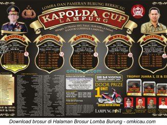 Brosur Lomba Burung Berkicau Kapolda Cup Lampung, Minggu 11 Oktober 2015