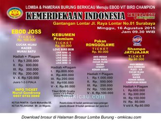 Brosur Lomba Burung Berkicau Kemerdekaan Indonesia, Surabaya, 16 Agustus 2015