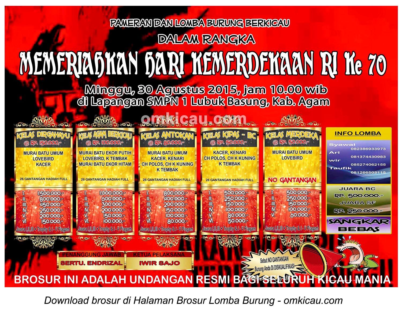 Brosur Lomba Burung Berkicau Kemerdekaan RI, Kabupaten Agam, 30 Agustus 2015