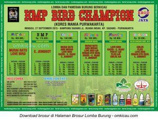 Brosur Lomba Burung Berkicau KMP Bird Champion, Purwakarta, 27 September 2015