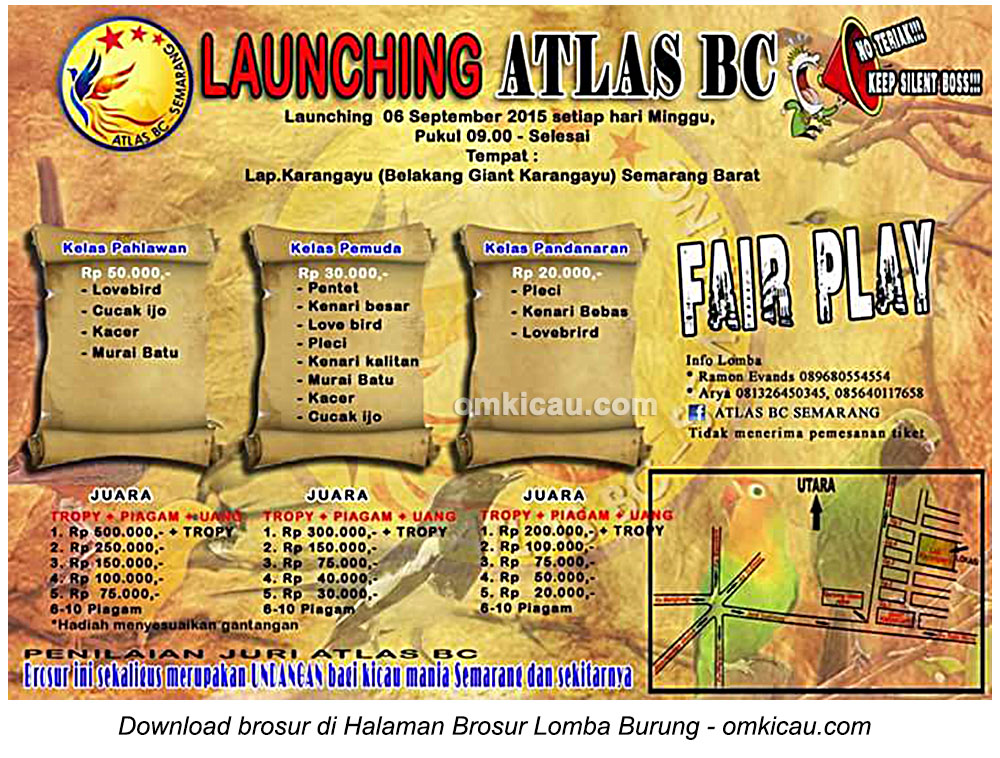 Brosur Lomba Burung Berkicau Launching Atlas BC, Semarang, 6 September 2015