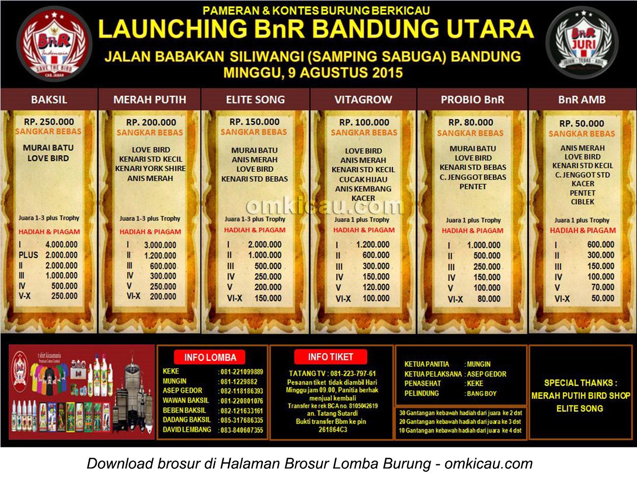 Brosur Lomba Burung Berkicau Launching BnR Bandung-Utara, 9 Agustus 2015