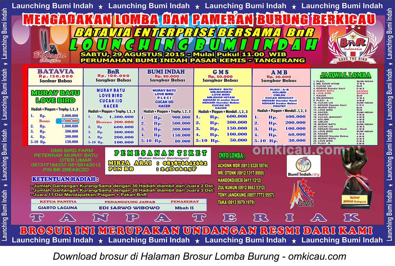 Brosur Lomba Burung Berkicau Launching Bumi Indah, Tangerang, 29 Agustus 2015