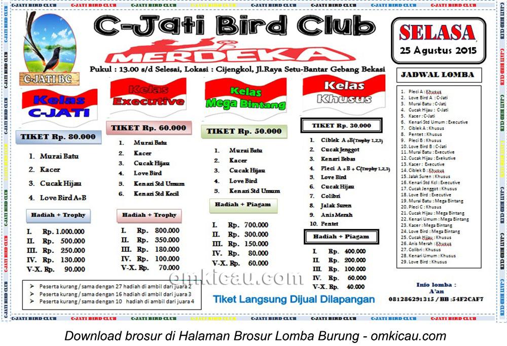 Brosur Lomba Burung Berkicau Merdeka C-Jati BC, Bekasi, 25 Agustus 2015