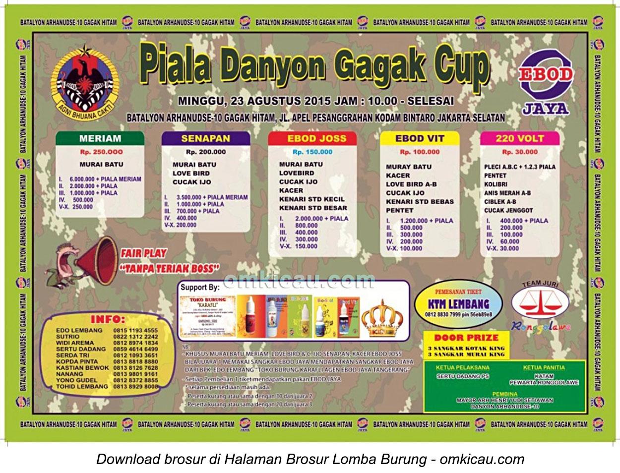 Brosur Lomba Burung Berkicau Piala Danyon Gagak Cup, Jakarta Selatan, 23 Agustus 2015