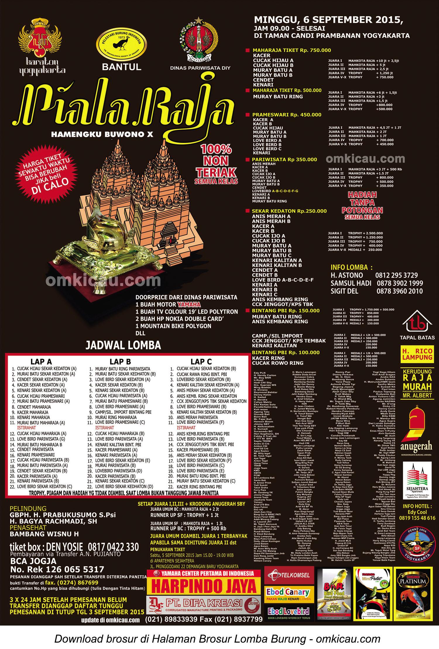 Brosur Lomba Burung Berkicau Piala Raja, Jogja, Minggu 6 September 2015