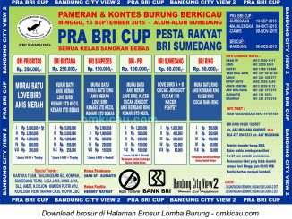 Brosur Lomba Burung Berkicau Pra BRI Cup, Sumedang, 13 September 2015