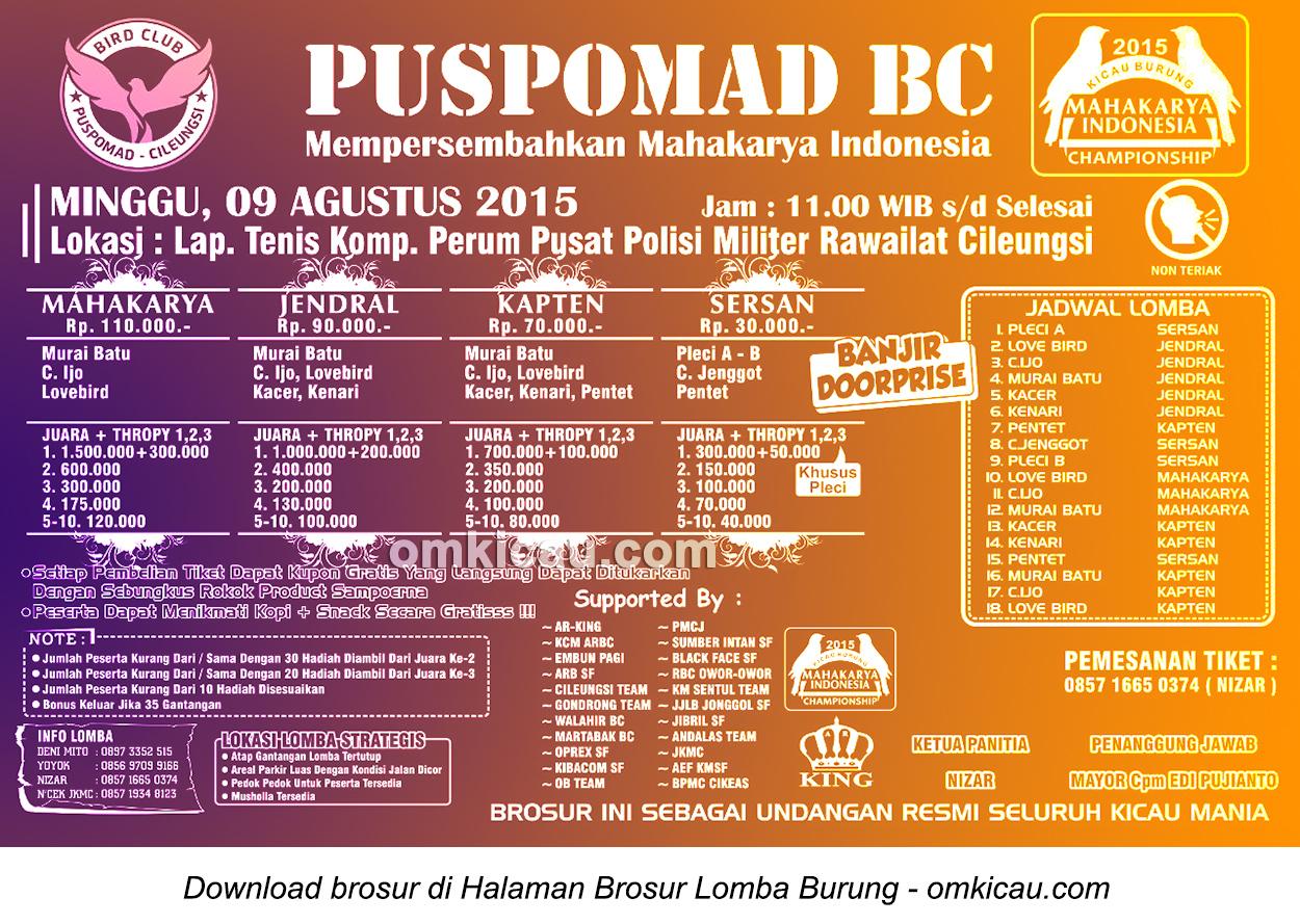 Brosur Lomba Burung Berkicau Puspomad BC, Bogor, 9 Agustus 2015