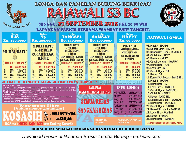 Brosur Lomba Burung Berkicau Rajawali S3 BC, Tangerang Selatan, 27 September 2015