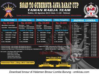 Brosur Lomba Burung Berkicau Road to Gubernur Jawa Barat Cup, Jakarta Selatan, 22 Agustus 2015