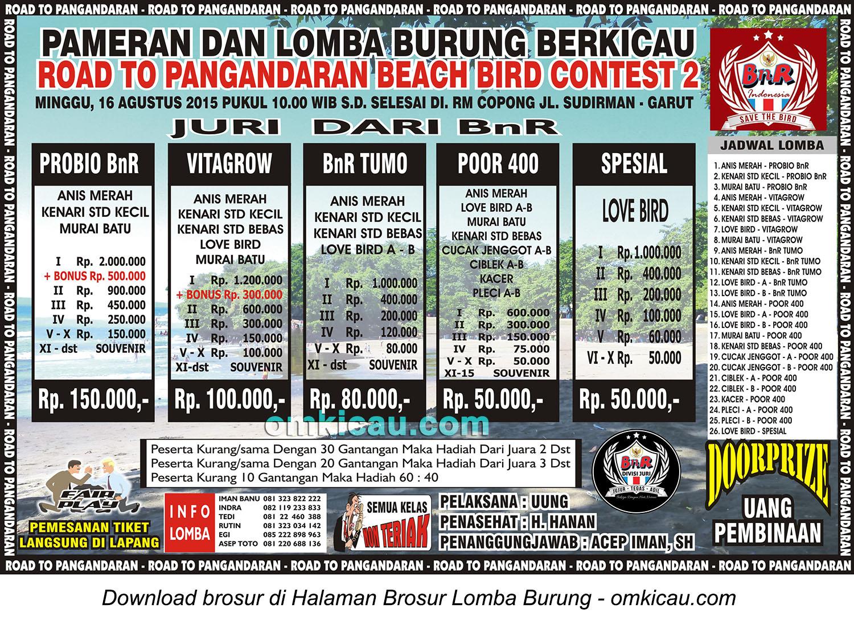 Brosur Lomba Burung Berkicau Road to Pangandaran Beach Bird Contest2, Garut, 16 Agustus 2015