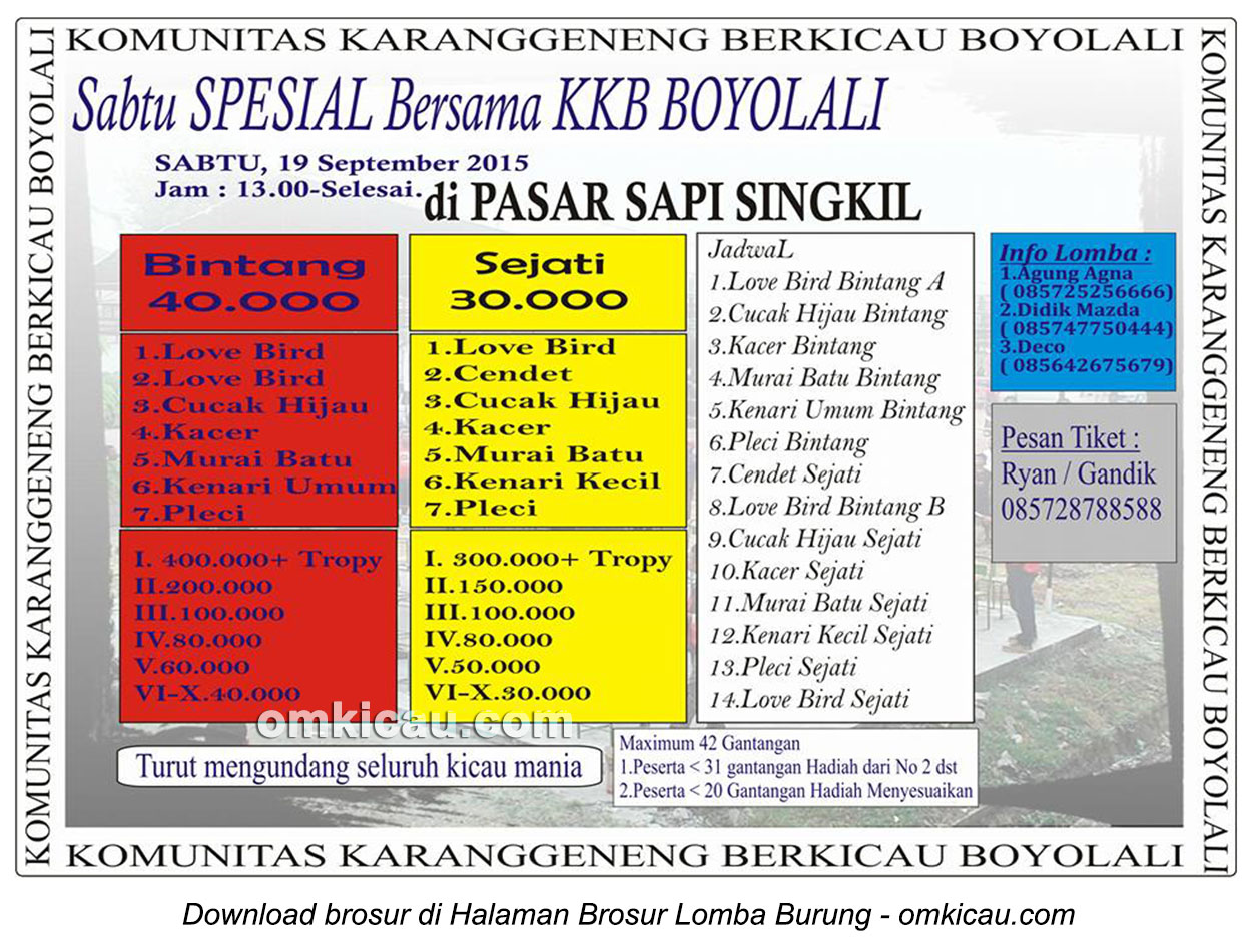 Brosur Lomba Burung Berkicau Sabtu Spesial KKB Boyolali, 19 September 2015