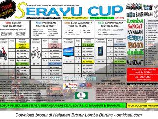 Brosur Lomba Burung Berkicau Serayu Cup, Banjarnegara, 9 Agustus 2015