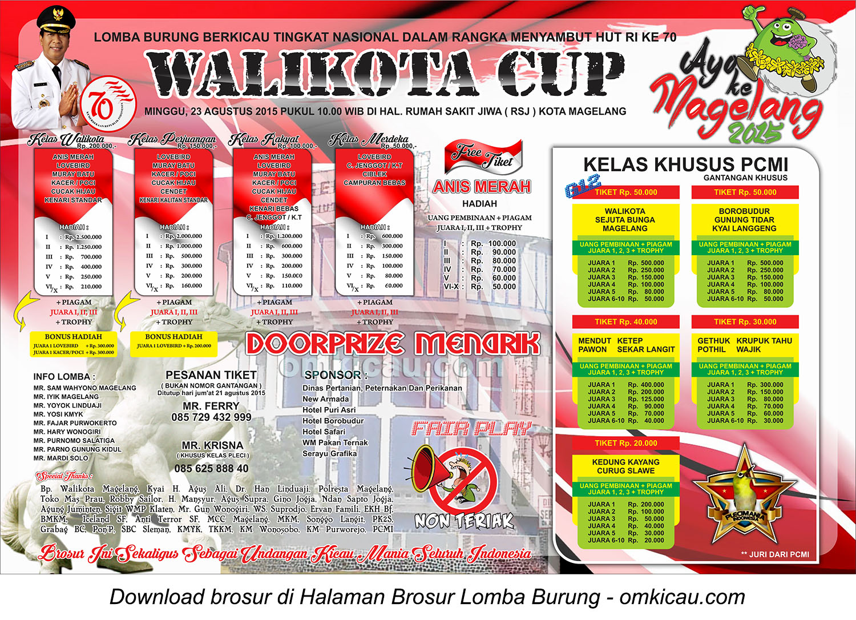 Brosur Lomba Burung Berkicau Wali Kota Cup, Magelang, 23 Agustus 2015