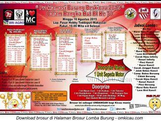 Brosur Lomba Proklamasi Burung Berkicau, Makassar, 16 Agustus 2015
