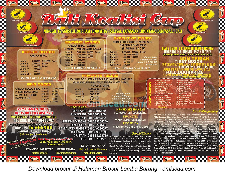 Brosur revisi Bali Koalisi Cup, Denpasar, 16 Agustus 2015