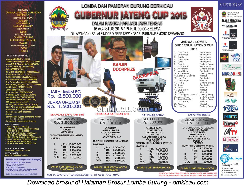 Brosur revisi Lomba Burung Berkicau Gubernur Jateng Cup, Semarang, 16 Agustus 2015