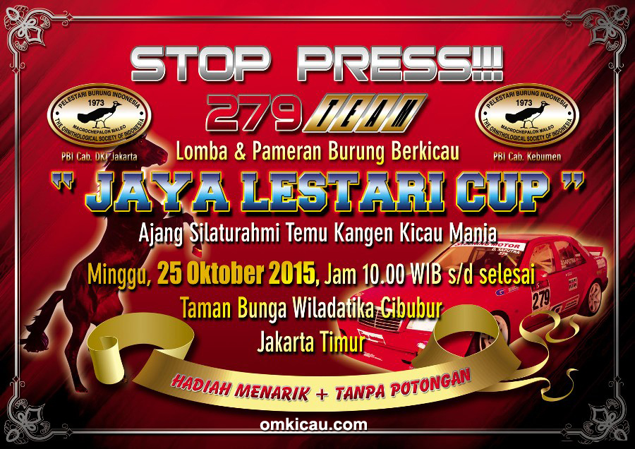 Brosur Stop Press Jaya Lestari Cup, Jakarta, 25 Oktober 2015