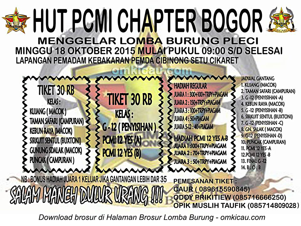 Brosur Kontes Burung Pleci HUT PCMI Chapter Bogor, 18 Oktober 2015