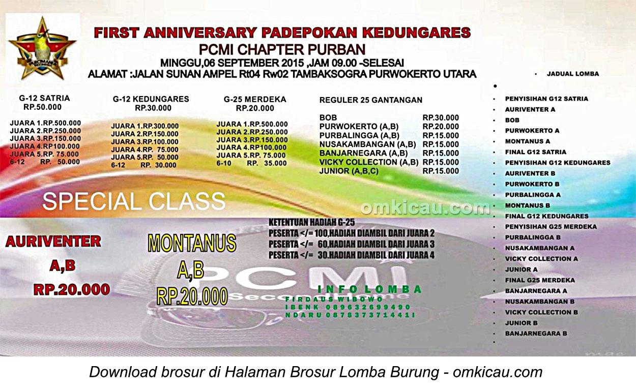 Brosur Kontes Pleci First Anniversary Padepokan Kedungares, Purwokerto, 6 September 2015