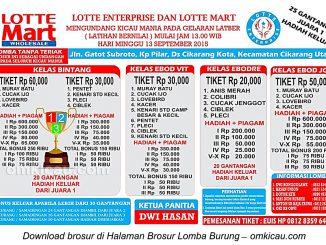 Brosur Latber Burung Berkicau Lotte Enterprise, Cikarang, 13 September 2015