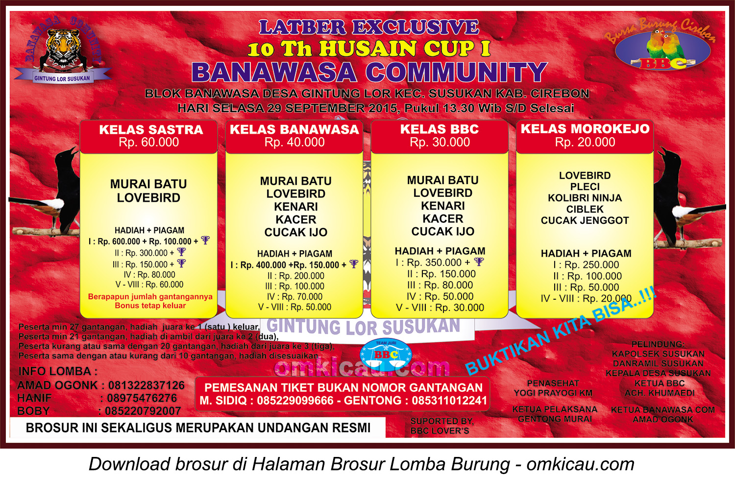 Brosur Latber Exclusive 10Th Husain CUp I Banawasa Community, Cirebon, 29 September 2015