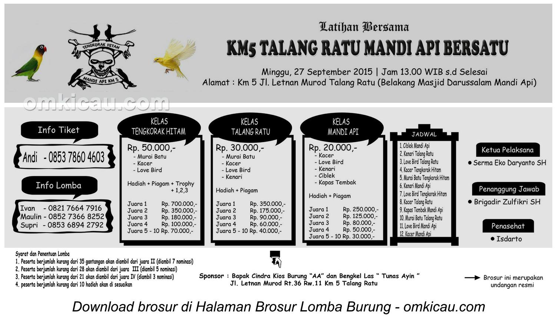 Brosur Latber KM5 Talang Ratu Mandi Api, Palembang, 27 September 2015