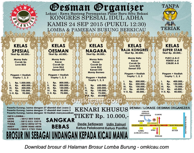 Brosur Latber Spesial Idul Adha Oesman Organizer, Bekasi, 24 September 2015