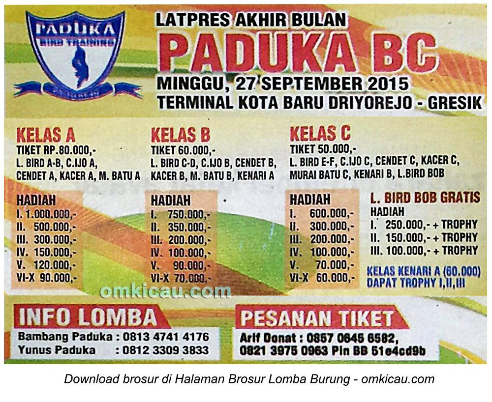 Brosur Latpres Akhir Bulan Paduka BC, Gresik, 27 September 2015