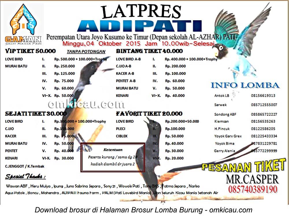 Brosur Latpres Burung Berkicau Adipati, Pati, 4 Oktober 2015