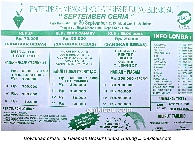 Brosur Latpres Burung Berkicau JP Enterprise Depok, 26 September 2015