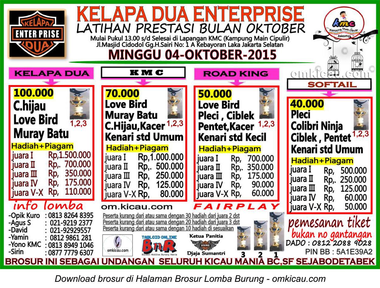 Brosur Latpres Burung Berkicau Kelapa Dua Enterprise, Jakarta Selatan, 4 Oktober 2015