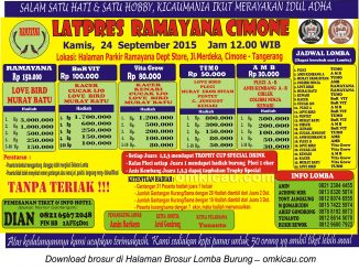 Brosur Latpres Burung Berkicau Ramayana Cimone, Tangerang, 24 September 2015