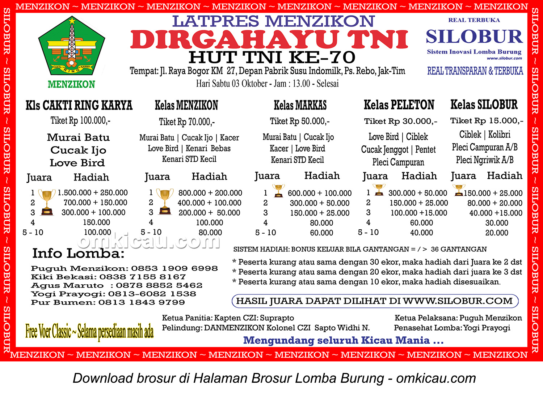 Brosur Latpres Menzikon Dirgahayu TNI, Jakarta Timur, 3 Oktober 2015