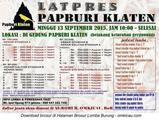 Brosur Latpres Papburi Klaten, Minggu 13 September 2015