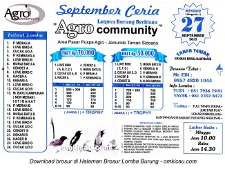 Brosur Latpres September Ceria Agro Community, Sidoarjo, 27 September 2015