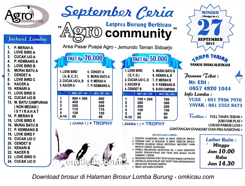 Brosur Latpres September Ceria Agro Community, Sidoarjo, 27 September 2015