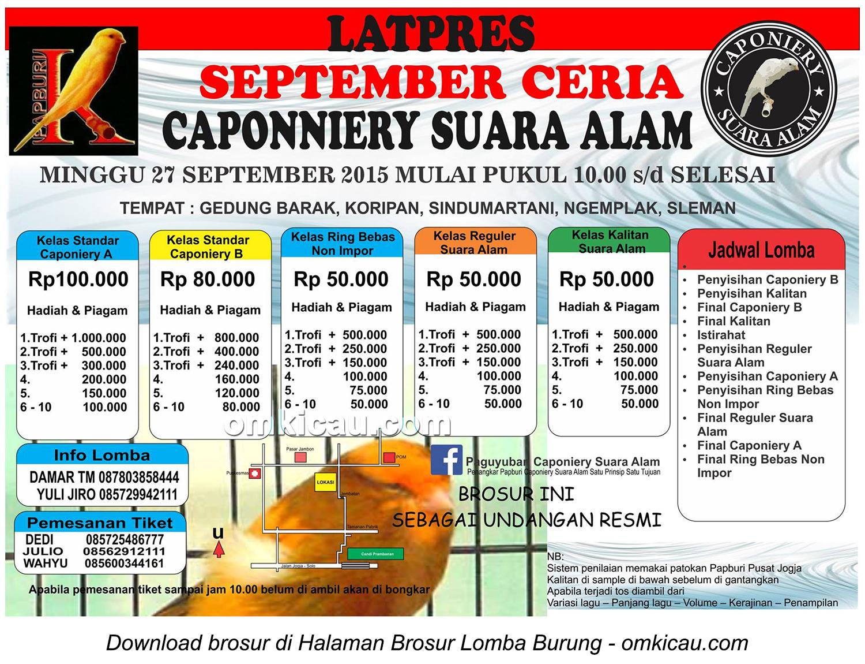 Brosur Latpres September Ceria Caponiery Suara Alam, Sleman, 27 September 2015