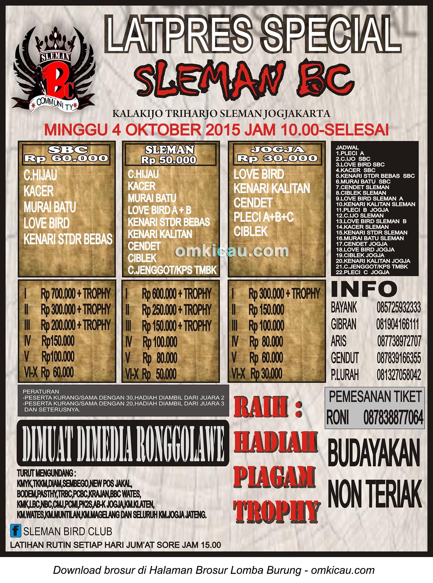 Brosur Latpres Special Sleman BC, 4 Oktober 2015