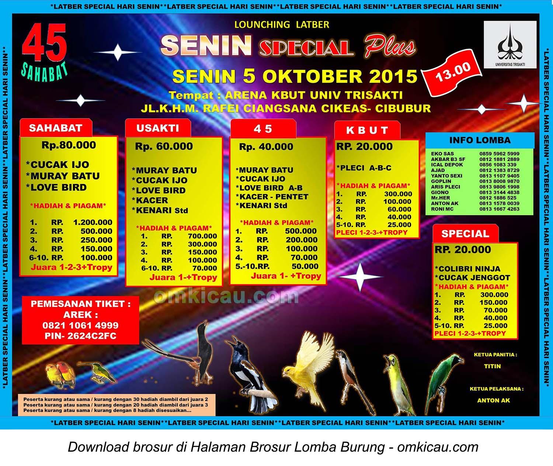 Brosur Launching Latber Senin Special 45 Sahabat, Cibubur, 5 Oktober 2015