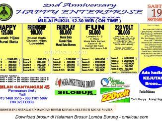 Brosur Lomba Burung Berkicau 2nd Anniversary Happy Enterprise, Bogor, 19 September 2015